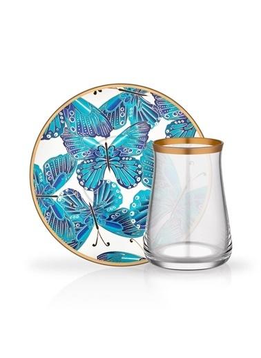 Glore Venüs Mavi 6 Kişilik Çay Set Renkli